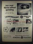 1955 General Electric Steam & Dry Iron Ad - Fabrics