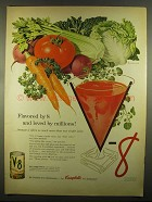 1955 V-8 Juice Ad - Flavored by 8 and Loved