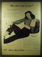 1946 Cannon Percale Sheets Ad - Here.. Want to read my mail?