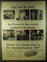 1946 Sonotone 600 Hearing Aid Ad - I like your Mr. Smith! For 10 years