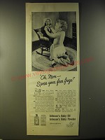 1946 Johnson's Baby Oil and Baby Powder Ad - Oh, Mom - S'pose your face froze