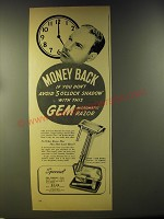 1946 Gem Micromatic Razor Ad - Money back if you don't avoid 5 o'clock shadow