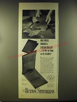 1946 Buxton Stitchless Wallet Ad - This one-piece billfold is self-interlocked