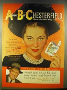 1946 Chesterfield Cigarettes Advertisement - Joan Fontaine