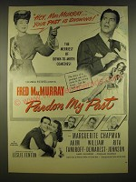 1945 Pardon My Past Movie Advertisement - Fred MacMurray