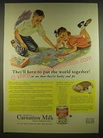 1945 Carnation Evaporated Milk Advertisement - recipe for Oatmeal Meat Loaf