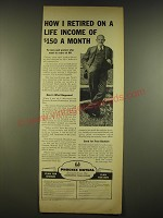 1944 Phoenix Mutual Retirement Income Plan Ad - How I retired on a life income