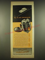 1944 Purolator Filters Ad - Key to car conservation
