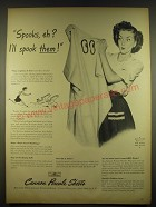 1944 Cannon Percale Sheets Ad - Spooks, eh? I'll spook them!