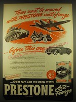 1944 Eveready Prestone Anti-Freeze Ad - These must be served with Prestone