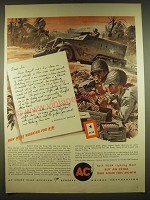 1944 AC Spark Plugs Ad - Now we're working for him