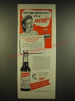 1941 French's Worcestershire Sauce Ad - Will this make a hit! It's a wow!