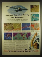 1941 Pan American Airways Ad - America's outposts of security and defense