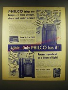 1940 Philco 280X, 255T and 608P radios Ad - Philco brings you Europe