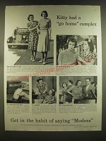 1939 Modess Sanitary Products Ad - Kitty had a go home complex
