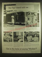 1939 Modess Sanitary Products Ad - My fair friend told me