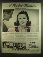 1939 Ipana Tooth Paste Ad - A perfect partner (until she smiles)