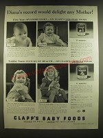 1939 Clapp's Baby Food Ad - Diana's record would delight any mother!