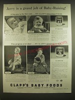 1939 Clapp's Baby Food Ad - Jerry is a grand job of Baby-Raising