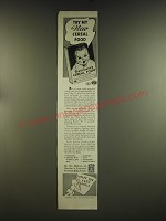 1939 Gerber's Cereal Food Ad - Try my new cereal food