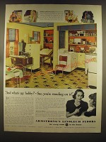 1939 Armstrong's Linoleum Floors Ad - And what's my hobby?