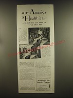 1939 Metropolitan Life Insurance Ad - Why America is Healthier