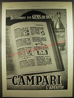 1939 Campari Aperitif Ad - in French - Dictionnaire des Gens de Gout