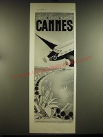 1938 Cannes France Tourism Ad - in French - Soleil Fleurs Sports Cannes