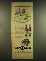 1937 Cinzano Vermouth Ad - So this is Paris