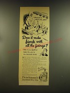1937 Fleischmann's Distilled Dry Gin Ad - Does it make friends with