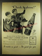 1937 Hires Root Beer Soda Ad - Check, please