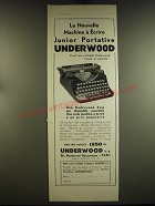1932 Underwood Junior Portable typewriter Ad - in French - La nouvelle machine