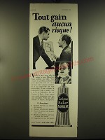 1932 Palmolive Shaving Cream Ad - in French - Tout gain aucun risque