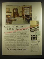 1926 Armstrong's Linoleum Ad - Chosen for beauty.. Laid for permanence