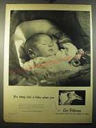 1950 Pullman Trains Ad - You sleep like a baby when you go Pullman