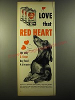 1950 Red Heart Dog Food Ad - Love that Red Heart