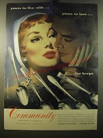 1950 Oneida Community Silver Ad - art by Jon Whitcomb - Yours to live with