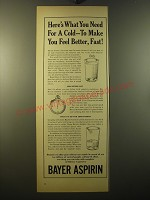 1950 Bayer Aspirin Ad - Here's what you need for a cold