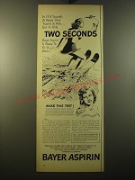 1950 Bayer Aspirin Ad - In 13.9 seconds a water skier travels 1/4 mile