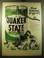 1950 Quaker State Motor Oil Ad - Finest spring tonic for your car