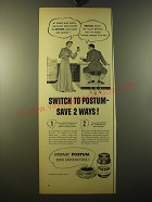 1950 Instant Postum Ad - Switch to postum - save 2 ways