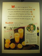 1950 Sunkist Oranges Ad - What is fresh orange juice?