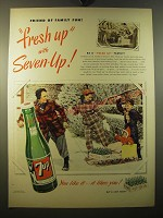 1950 7up Soda Ad - Friend of family fun! Fresh up with Seven-up