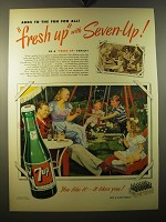 1950 7up Soda Ad - Adds to the fun for all Fresh up with Seven-up