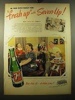 1950 7up Soda Ad - In tune with family fun! Fresh up with Seven-Up