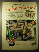 1950 7up Soda Ad - For any family occasion.. Fresh up with Seven-up