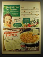 1950 Franco-American Spaghetti and V-8 Juice Advertisement - Jeanne Crain