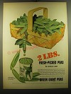 1950 Green Giant Sweet Peas Ad - 2 lbs. Fresh-Picked Peas in every can