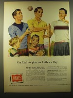 1950 Hanes Suedeknit and Flatknit shirts Ad - Get dad to play on Father's day