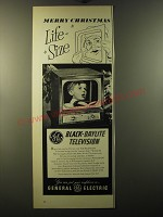 1950 General Electric Black-Daylight Television Model 16T5 Ad - Merry Christmas
